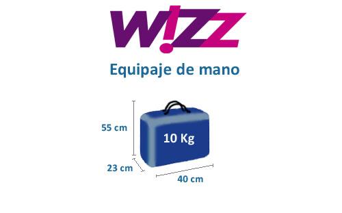equipaje de mano de la aerolínea wizz air