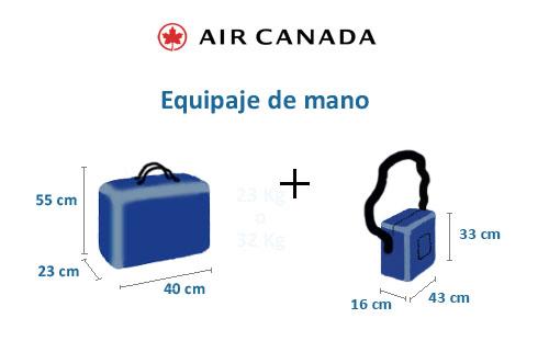 equipaje de mano de air canada