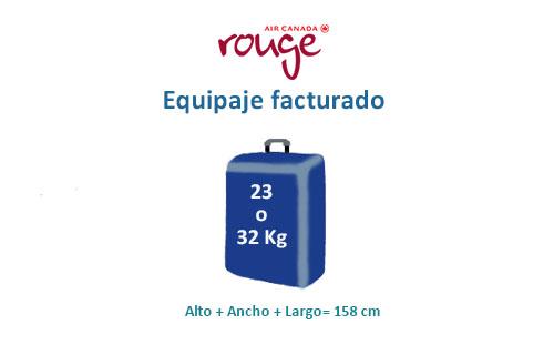 medidas equipaje de facturado compañía air canada rouge