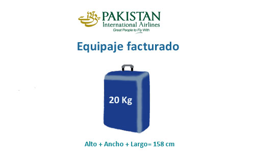 medidas del equipaje facturado de aerolínea pakistan international airlines
