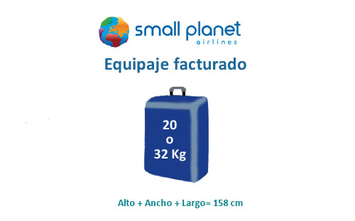 medidas equipaje facturado small planet airlines