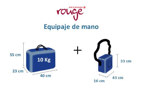 medidas equipaje de mano compañía air canada rouge