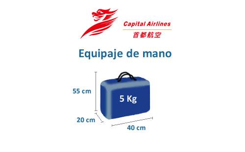 medidas del equipaje de mano de la aerolínea beijing capital airlines