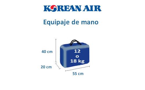 medidas equipaje de mano korean air