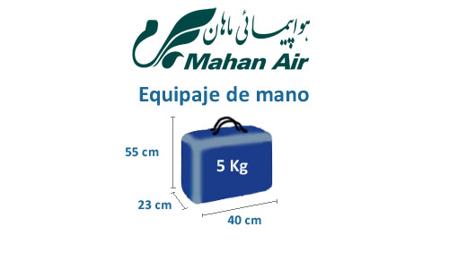 medidas del equipaje de mano de la aerolínea mahan air