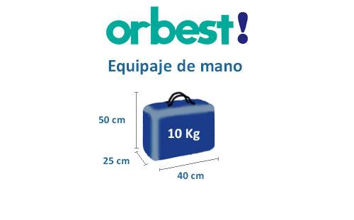 medidas del equipaje de mano compañía aérea orbest