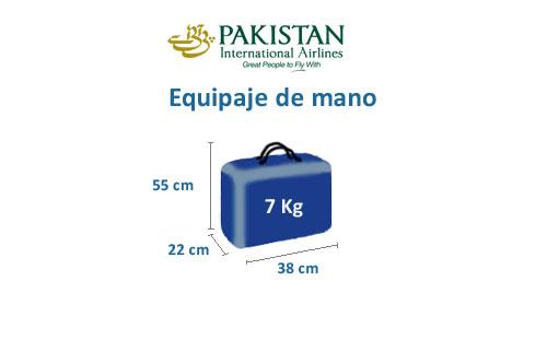 medidas del equipaje de mano de la aerolínea pakistan international airlines