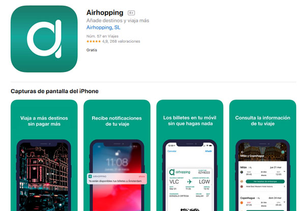 aplicación para dispositivos IOS de Airhopping